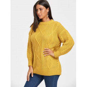Puff Sleeve Open Front Cable Knit Sweater - ONE SIZE ONE SIZE
