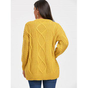 Puff Sleeve Open Front Cable Knit Sweater - GINGER GINGER