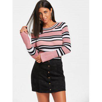 Striped Flare Sleeve Sweater - ONE SIZE ONE SIZE