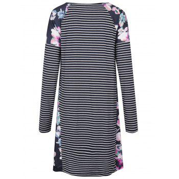 Raglan Sleeve Floral Print Striped Dress - PURPLISH BLUE M