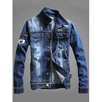 Double Chest Pocket Embroidery Denim Jacket - XL XL