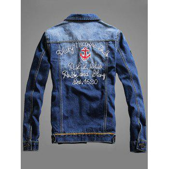 Double Chest Pocket Embroidery Denim Jacket - L L