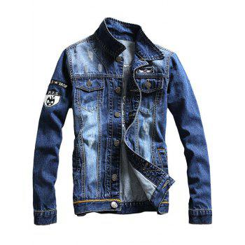 Double Chest Pocket Embroidery Denim Jacket - BLUE L