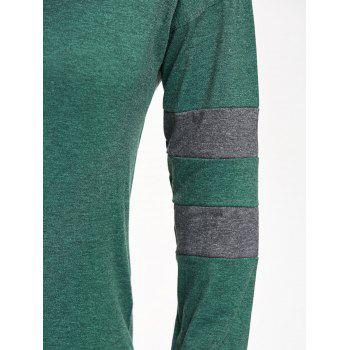 Drop Shoulder Color Block Tunic Sweatshirt - GREEN S