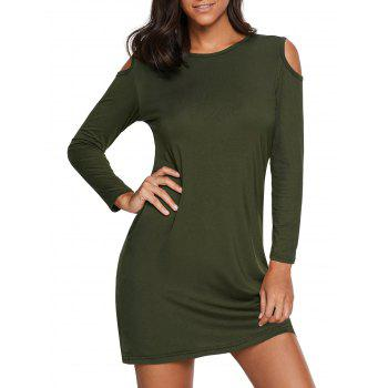 Cold Shoulder Mini T Shirt Dress - ARMY GREEN S