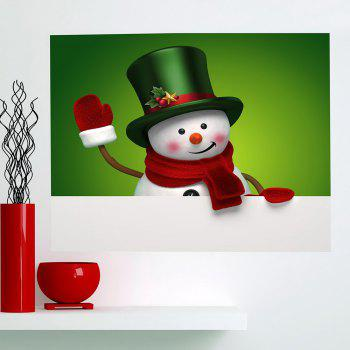 Multifunction Christmas Snowman Printed Wall Sticker - GREEN AND WHITE 1PC:24*35 INCH( NO FRAME )