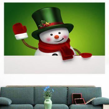 Multifunction Christmas Snowman Printed Wall Sticker - GREEN/WHITE 1PC:24*35 INCH( NO FRAME )