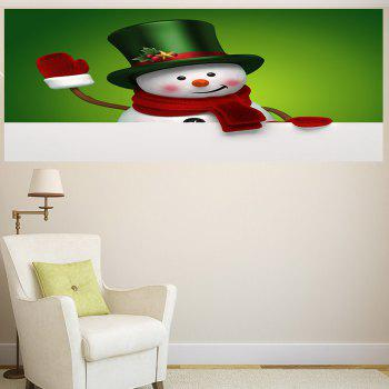 Multifunction Christmas Snowman Printed Wall Sticker - GREEN/WHITE 1PC:24*47 INCH( NO FRAME )