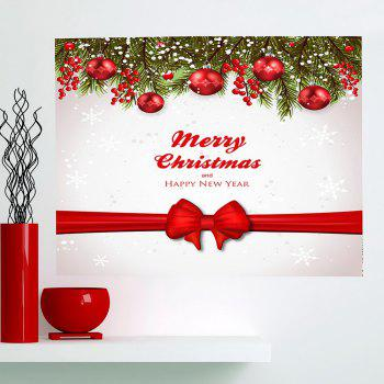 Christmas Balls Bowknot Belt Pattern Multifunction Wall Sticker - RED + WHITE 1PC:24*24 INCH( NO FRAME )