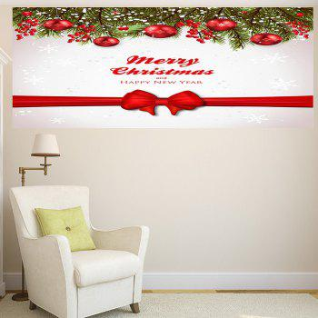 Christmas Balls Bowknot Belt Pattern Multifunction Wall Sticker - RED / WHITE RED / WHITE