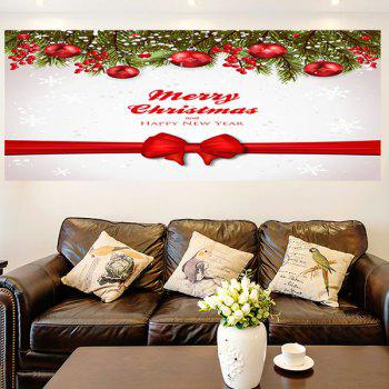 Christmas Balls Bowknot Belt Pattern Multifunction Wall Sticker - RED / WHITE 1PC:24*35 INCH( NO FRAME )