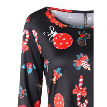 Plus Size Christmas Long Sleeve Printed Dress - BLACK XL