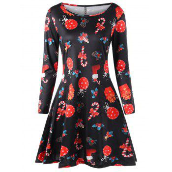 Plus Size Christmas Long Sleeve Printed Dress - BLACK BLACK
