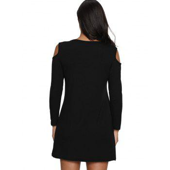 Cold Shoulder Mini T Shirt Dress - BLACK 2XL