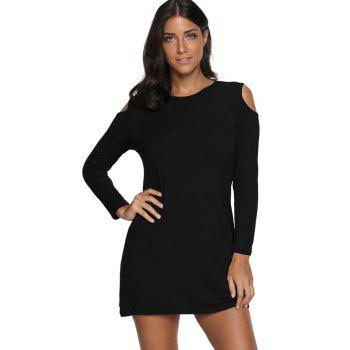 Cold Shoulder Mini T Shirt Dress - BLACK XL
