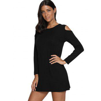 Cold Shoulder Mini T Shirt Dress - BLACK L