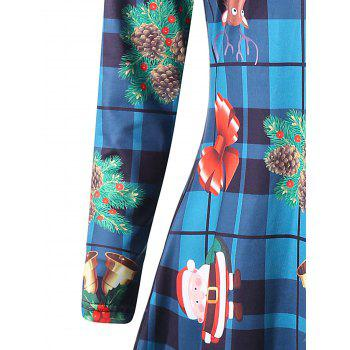 Plus Size Christmas Tree Long Sleeve Plaid Dress - COLORMIX COLORMIX