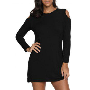 Cold Shoulder Mini T Shirt Dress - BLACK S
