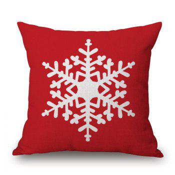 Christmas Snowflake Print Linen Sofa Pillowcase - RED RED
