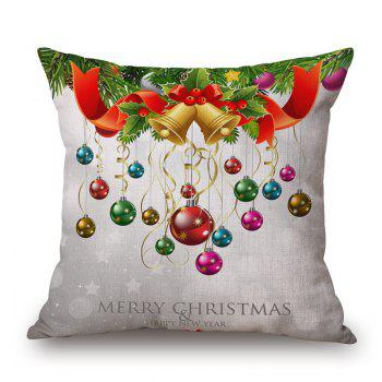 Christmas Baubles Print Linen Sofa Pillowcase - COLORMIX 45*45CM