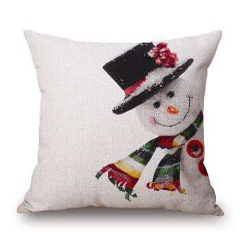 Christmas Snowman Print Linen Sofa Pillowcase - COLORMIX COLORMIX