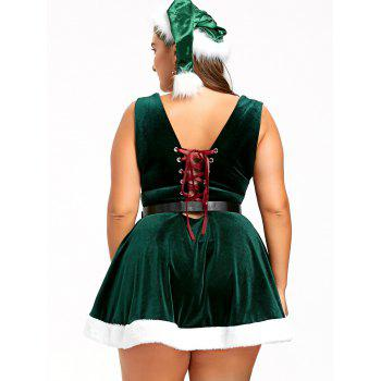 Christmas Lace Up Skater Dress with Hat - 4XL 4XL