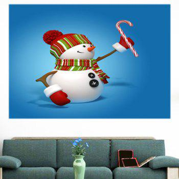 Multifunction Christmas Snowmen Pattern Decorative Wall Sticker - BLUE 1PC:24*24 INCH( NO FRAME )