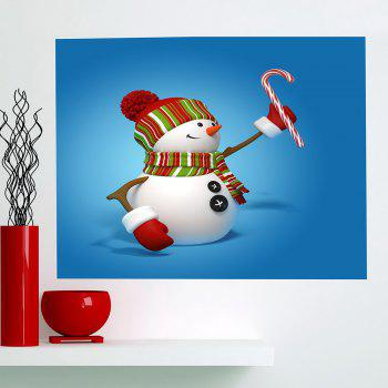 Multifunction Christmas Snowmans Pattern Decorative Wall Sticker - BLUE 1PC:24*24 INCH( NO FRAME )