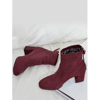 High Heel Pointed Toe Ankle Boots - WINE RED 40