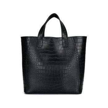 3 Pieces Embossing PU Leather Handbag Set - BLACK