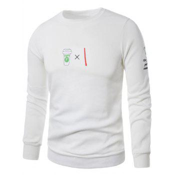Coffee Graphic Embroidered Fleece Sweatshirt - WHITE L