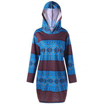 Plus Size Geometric Long Sleeve Pullover Hoodie - COLORMIX 2XL