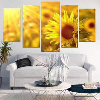 Unframed Sunflower Print Canvas Painting - GINGER 1PC:8*20,2PCS:8*12,2PCS:8*16 INCH( NO FRAME )