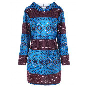 Plus Size Geometric Long Sleeve Pullover Hoodie - COLORMIX 4XL