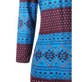 Plus Size Geometric Long Sleeve Pullover Hoodie - COLORMIX COLORMIX