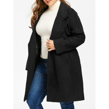 Plus Size Drop Shoulder Wool Blend Wrap Coat - BLACK 3XL