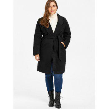 Plus Size Drop Shoulder Wool Blend Wrap Coat - 3XL 3XL