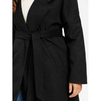 Plus Size Drop Shoulder Wool Blend Wrap Coat - 4XL 4XL