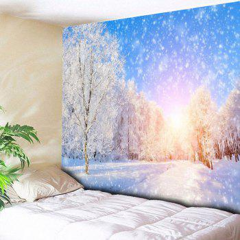 Snowscape Print Wall Hanging Bedroom Tapestry - BLUE AND WHITE W59 INCH * L51 INCH