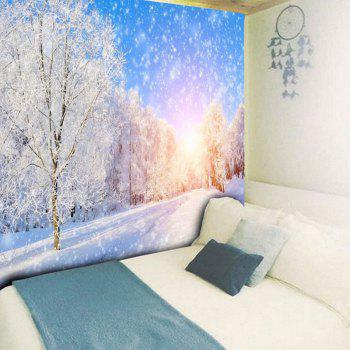 Snowscape Print Wall Hanging Bedroom Tapestry - BLUE/WHITE W59 INCH * L59 INCH