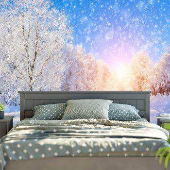 Snowscape Print Wall Hanging Bedroom Tapestry - BLUE/WHITE BLUE/WHITE
