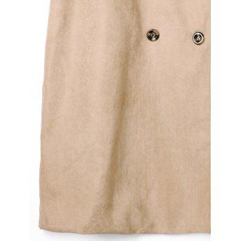Plus Size Double Breasted Longline Waistcoat with Belt - LIGHT KHAKI 4XL