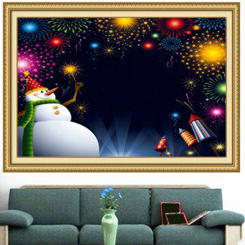 Christmas Snowman Fireworks Printed Wall Art Painting - 1PC:24*24 INCH( NO FRAME ) 1PC:24*24 INCH( NO FRAME )
