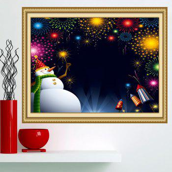 Christmas Snowman Fireworks Printed Wall Art Painting - COLORFUL 1PC:24*24 INCH( NO FRAME )