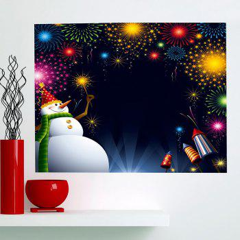 Christmas Snowman Fireworks Printed Wall Art Painting - COLORFUL 1PC:24*47 INCH( NO FRAME )