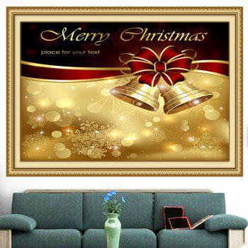 Christmas Bowknot Bells Printed Multifunction Wall Art Painting - GOLDEN 1PC:24*24 INCH( NO FRAME )