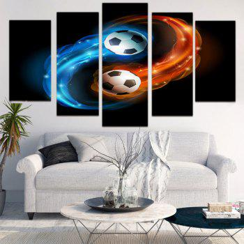 Taiji Football Printed Decorative Unframed Canvas Paintings - BLUE / ORANGE 1PC:8*20,2PCS:8*12,2PCS:8*16 INCH( NO FRAME )