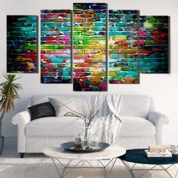 Colorful Bricks Wall Printed Unframed Canvas Paintings - COLORFUL 1PC:8*20,2PCS:8*12,2PCS:8*16 INCH( NO FRAME )
