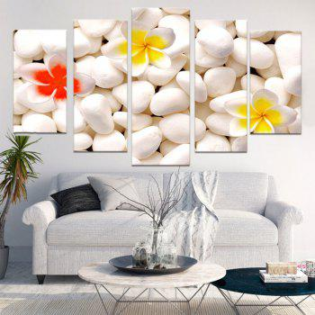 Cobblestones Flowers Patterned Unframed Canvas Paintings - WHITE 1PC:8*20,2PCS:8*12,2PCS:8*16 INCH( NO FRAME )