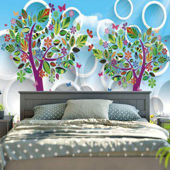 Cartoon Tree Circle Printed Wall Art Tapestry - SKY BLUE W59 INCH * L59 INCH